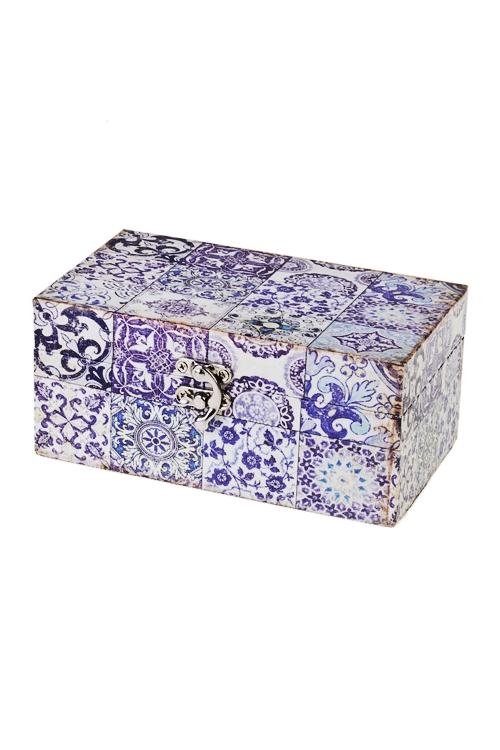Шкатулка Цветочный орнаментШкатулки для украшений<br>18*10*8см, МДФ<br>