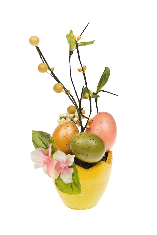 Композиция декоративная Праздничное яичкоПодарки<br>Выс=16см, полиэстер, пенопласт, бумага, желтая<br>