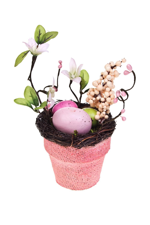 Композиция декоративная Пасхальный горшочекПодарки маме<br>Выс=17см, пенопласт, пластм., натур. матер., розовая<br>