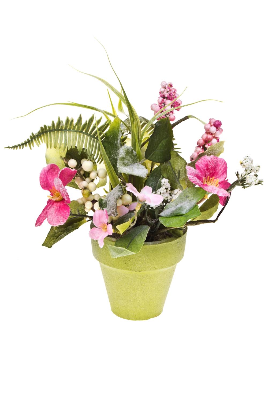 Композиция декоративная Прекрасный букетДекоративные цветы<br>Выс=23см, полиэстер, бумага, в горшке<br>