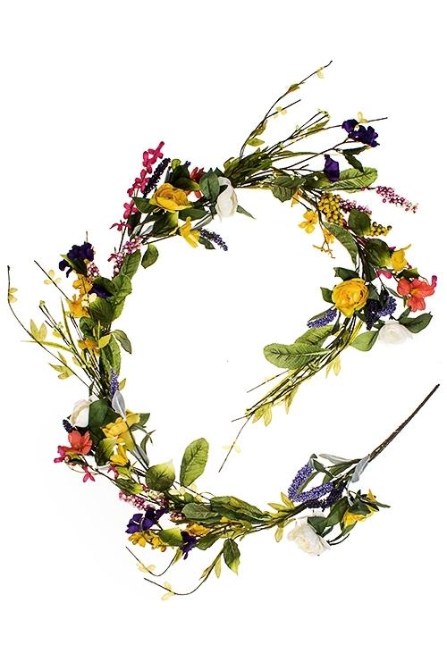 Украшение декоративное Гирлянда из весенних цветовДекоративные цветы<br>Дл=150см, полиэстер, металл<br>