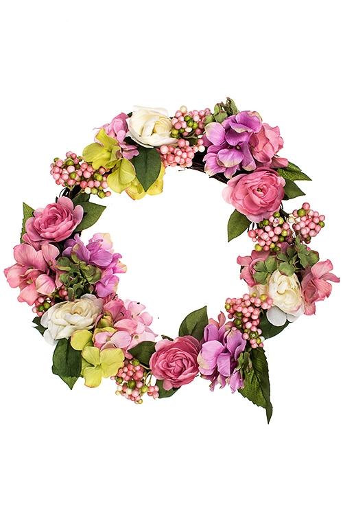 Украшение декоративное Венок из гортензии и розыДекоративные цветы<br>Д=35см, полиэстер, пенопласт, натур. матер.<br>