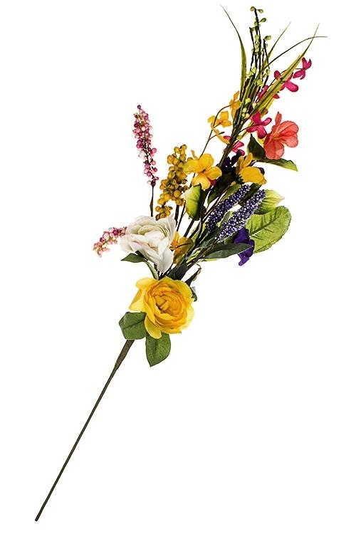 Ветка декоративная Весенние цветыИнтерьер<br>Выс=65см, пластм., зелено-сирен.-желтая<br>