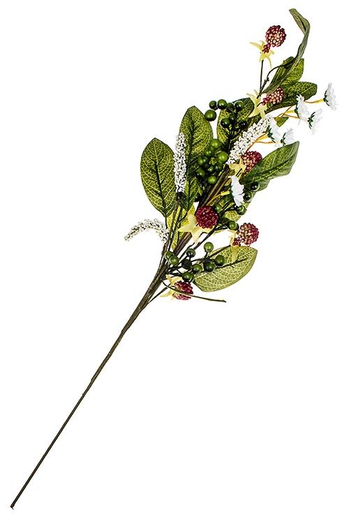 Ветка декоративная Ягодная симфонияИнтерьер<br>Выс=65см, пластм., зелено-бело-красная<br>