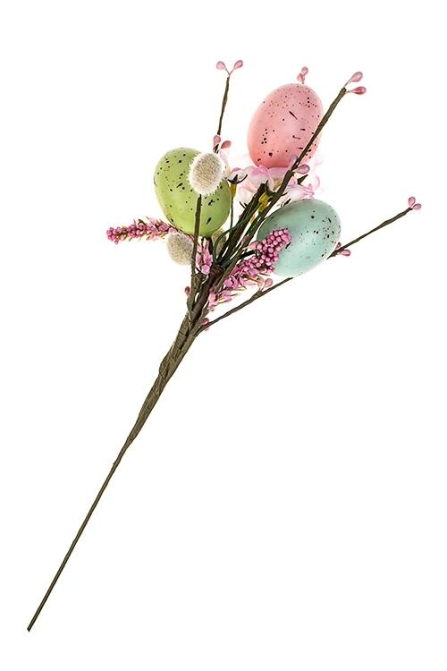 Украшение для интерьера Пасхальная веточкаДекоративные цветы<br>Выс=35см, полиэстер, пенопласт, металл, на палке<br>