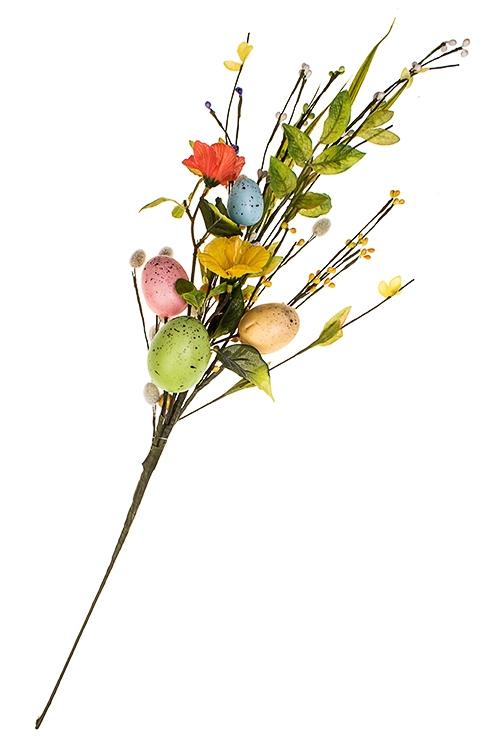 Украшение для интерьера Пасхальная ветка с вербойДекоративные цветы<br>Выс=65см, полиэстер, пенопласт, металл<br>