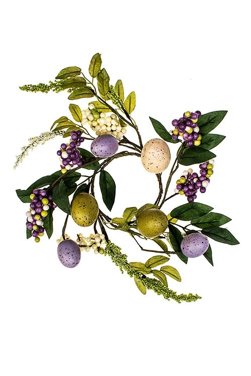 Украшение для интерьера Пасхальный цветочный венокДекоративные цветы<br>Д=30см, полиэстер, пенопласт, натур. матер.<br>