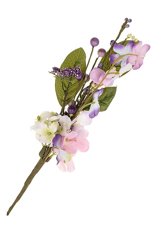 Ветка декоративная Очаровательная гортензияДекоративные цветы<br>Выс=32см, полиэстер, пенопласт, металл<br>