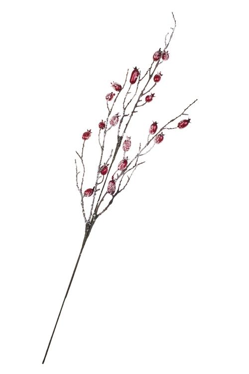 Украшение для интерьера Веточка заснеженного шиповникаДекоративные цветы<br>Выс=69см, пенопласт, металл<br>