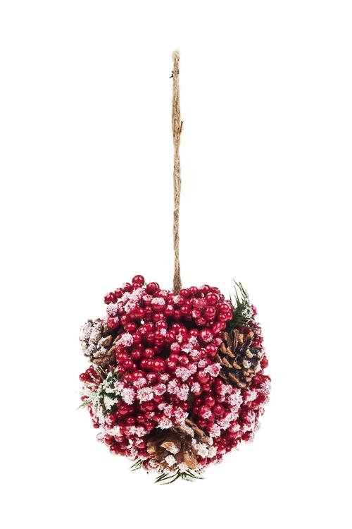 Украшение для интерьера Шар из ягод и веточекПодарки<br>Д=15см, пенопласт, пласт., натур. матер., подвес.<br>