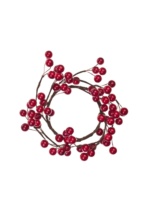 Украшение для интерьера Венок - Красные ягодкиНовогодние украшения и статуэтки<br>Д=15см, пенопласт, металл<br>
