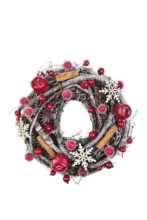 Украшение для интерьера Венок с ягодками и снежинкамиПодарки<br>Д=23см, натур. матер., пенопласт<br>