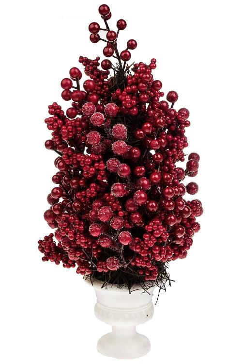 Композиция декоративная Красные ягодкиИнтерьер<br>Выс=48см, пенопласт, пластм., натур.матер.<br>