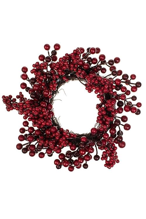 Венок новогодний Зимние ягодкиПодарки на Новый год 2018<br>Д=30см, натур. матер., пенопласт<br>
