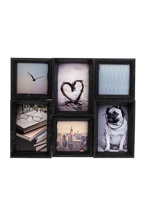 Рамка для 6-ти фото Любимые моментыИнтерьер<br>37*30см, фото 10*10см, 10*15см, МДФ, черная<br>