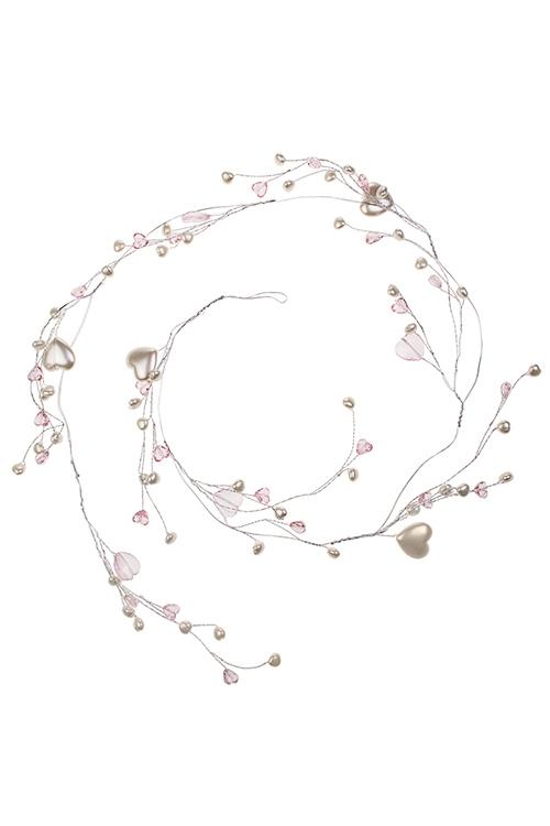 Гирлянда декоративная СердечкиДекоративные гирлянды и подвески<br>Дл=1.2м, акрил, металл, жемчужно-розовая<br>