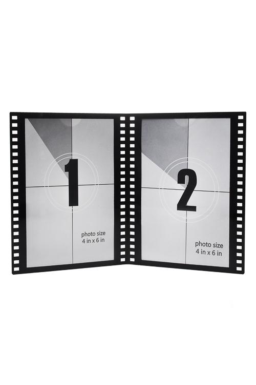 Рамка для 2-х фото Прекрасный кадрПластиковые фоторамки<br>22*16см, фото 10*15см, пласт., черно-белая<br>