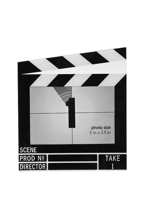 Рамка для фото Режиссерская хлопушкаИнтерьер<br>15*17см, фото 12*8см, акрил, черно-белая<br>