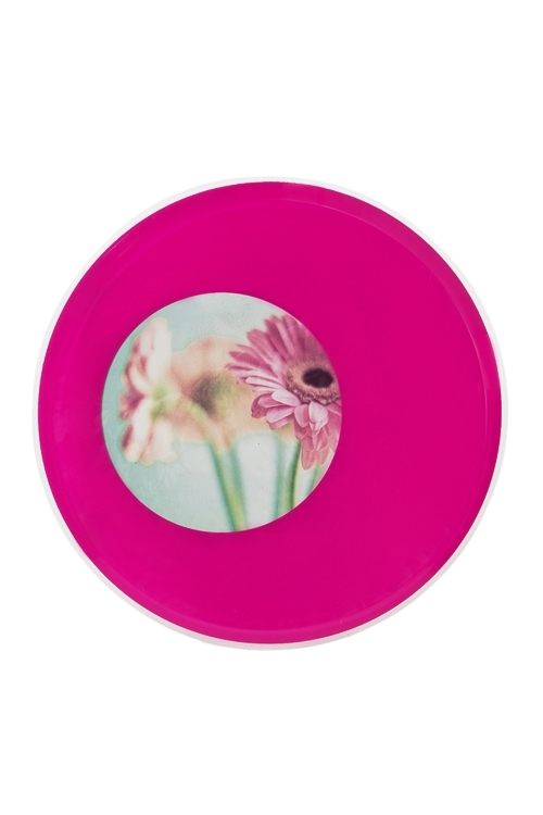 Рамка для фото КругПластиковые фоторамки<br>Д=17см, фото Д=8.5см, акрил, розовая<br>