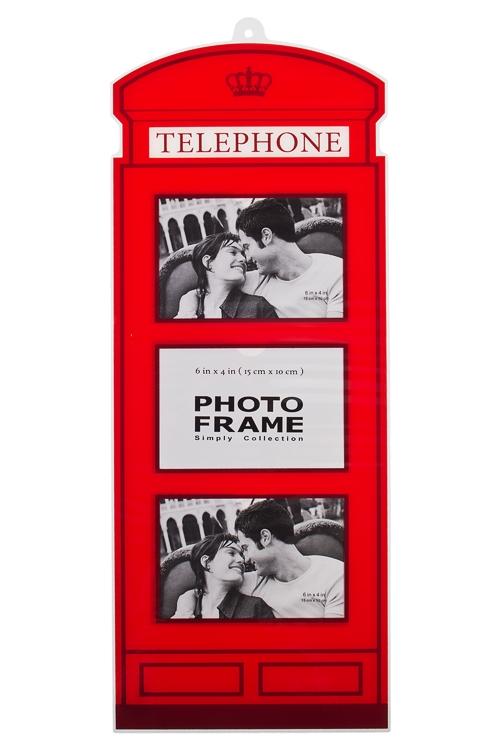 Рамка для 3-х фото Английская телефонная будкаПластиковые фоторамки<br>22*57см, фото 10*15см, пласт., красная<br>