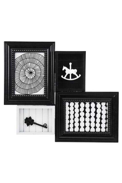 Рамка для 2-х фото ЛошадкаДеревянные фоторамки<br>46*41см, фото 13*18см, 8*8см, МДФ, стекло, черно-белая<br>