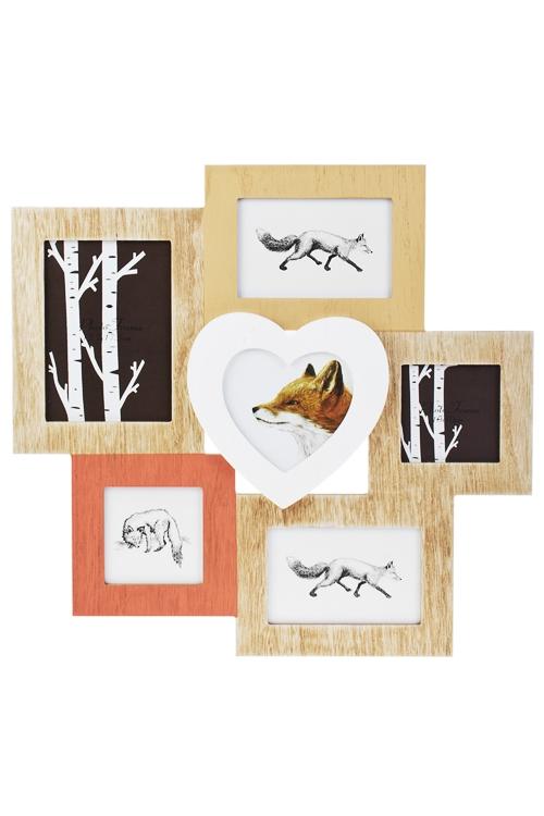 Рамка для 6-ти фото Сказочный лесДеревянные фоторамки<br>48*45см, фото 13*18см, 15*10см, 10*10см, МДФ, стекло<br>