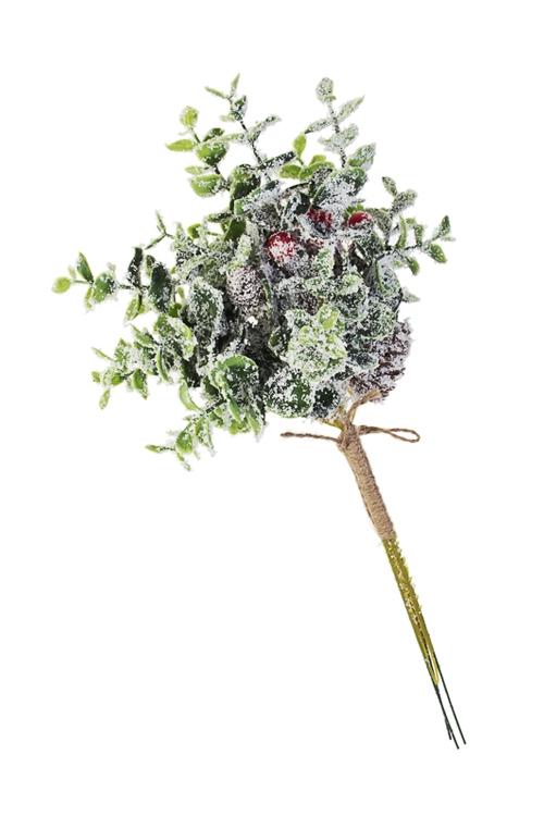 Украшение для интерьера Заснеженная веточкаДекоративные цветы<br>Выс=30см, пластм. (2 вида)<br>