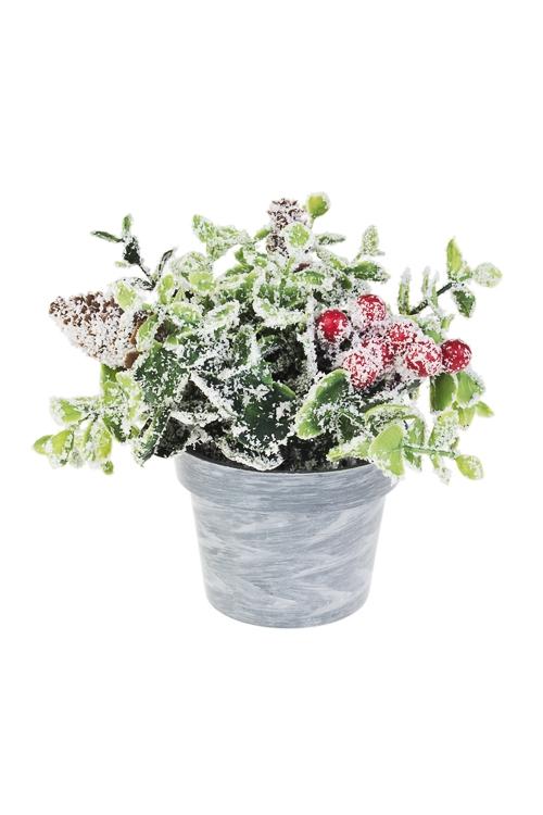 Композиция декоративная Зимние цветыДекоративные цветы<br>Выс=15см, пластм. (2 вида)<br>