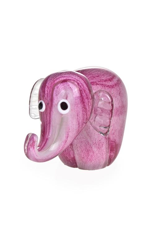 Украшение для интерьера Смешной слонИнтерьер<br>Дл=13см, стекло, розовое<br>