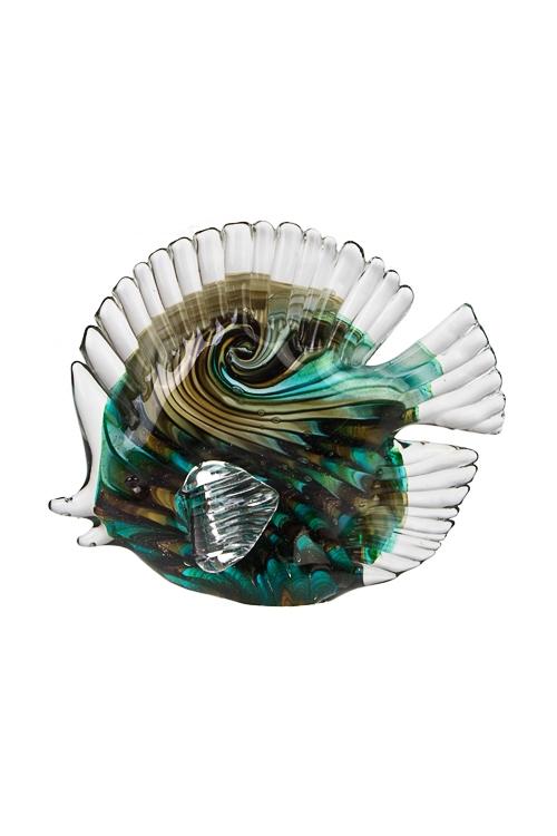 Украшение для интерьера Яркая рыбкаИнтерьер<br>Дл=18см, стекло, черно-зеленое<br>