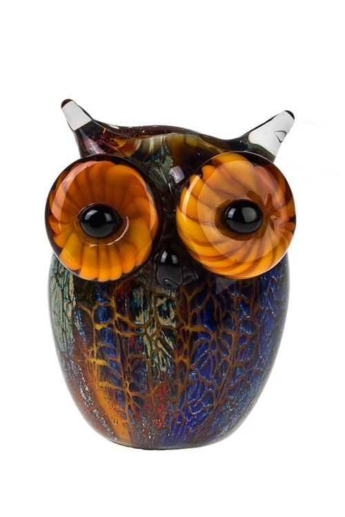 Украшение для интерьера Яркая соваИнтерьер<br>Выс=14см, стекло, оранж.-синее.<br>