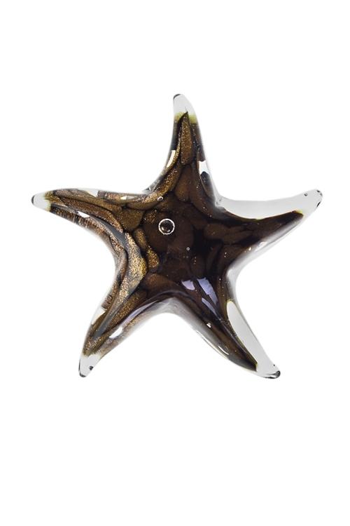 Украшение для интерьера Морская звездаСтеклянные статуэтки<br>Д=11см, стекло, коричн.-золот.<br>