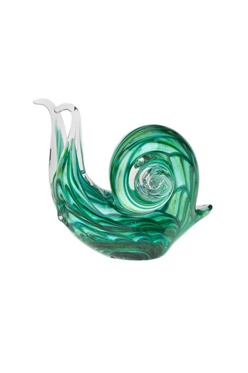 Украшение для интерьера УлиткаПодарки для женщин<br>Дл=12см, стекло, зеленое<br>