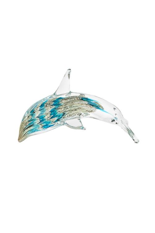Украшение для интерьера ДельфинПодарки<br>14*9см, стекло, беж.-голуб.-желт.<br>