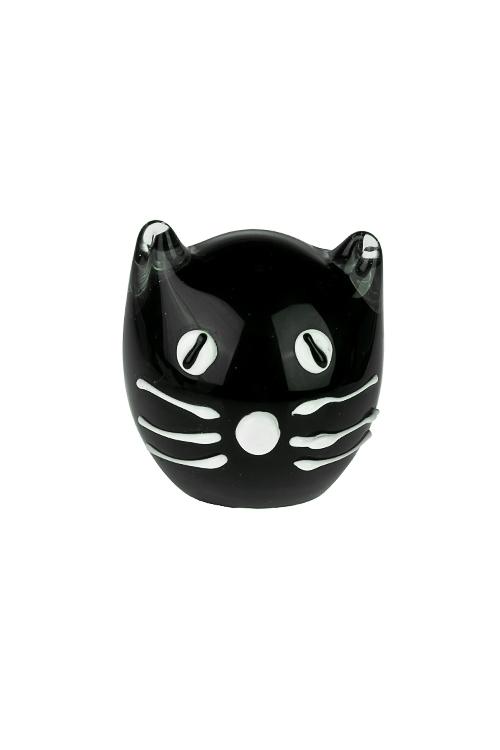 Украшение для интерьера Черный котИнтерьер<br>8*8см, стекло, черно-белое<br>