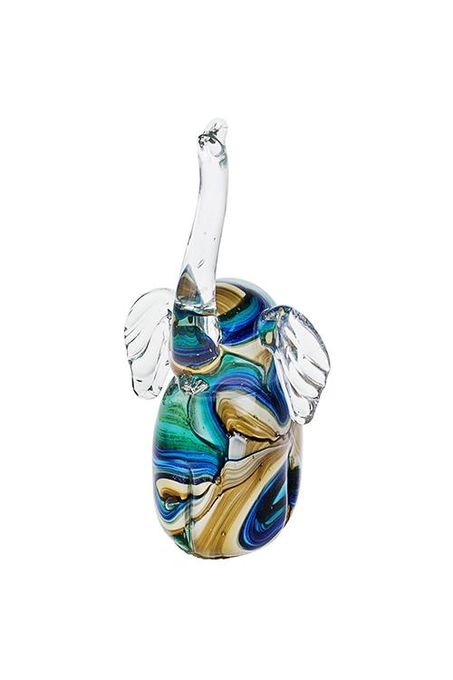 Украшение для интерьера Счастливый слонИнтерьер<br>19*7.5см, стекло, сине-зелено-крем.<br>