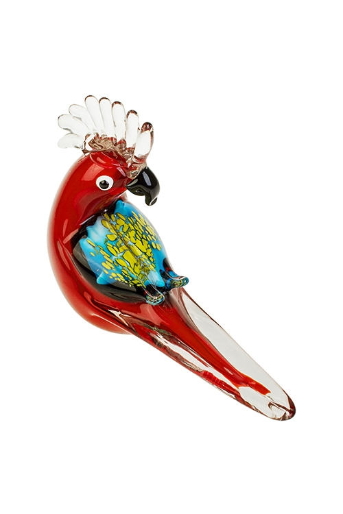 Украшение для интерьера Яркий попугайПодарки для женщин<br>22*14.5см, стекло, красно-желто-голубое<br>