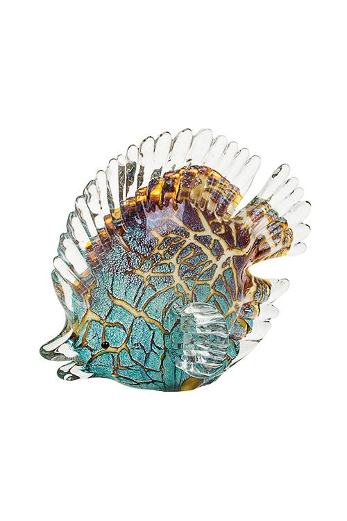 Украшение для интерьера Яркая рыбкаПодарки для женщин<br>Дл=18см, стекло, бирюз.-коричн.<br>
