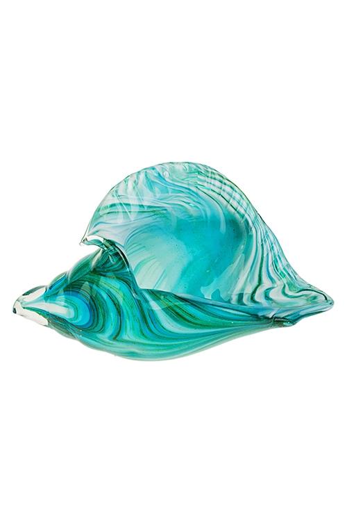 Украшение для интерьера РакушкаИнтерьер<br>Дл=24см, стекло, зелено-голубое<br>