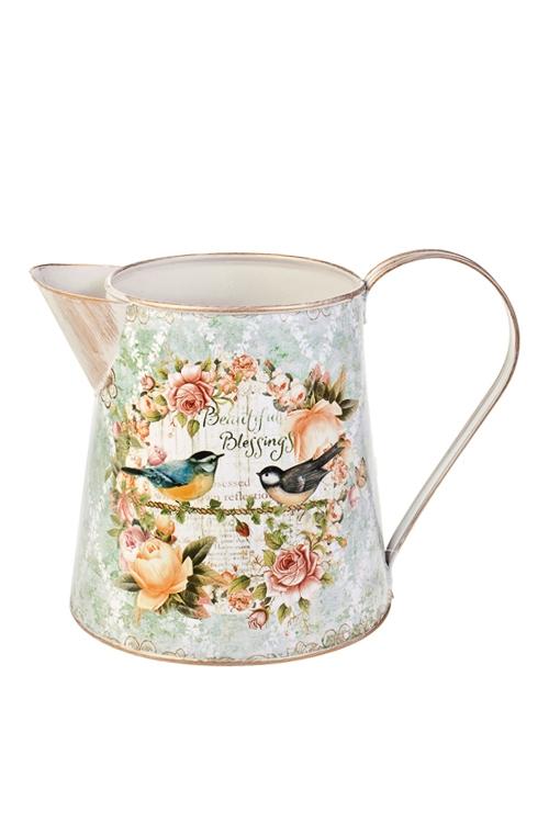 Ваза декоративная Певчие птичкиВазы для цветов<br>Выс=16см, в форме кувшина, металл<br>