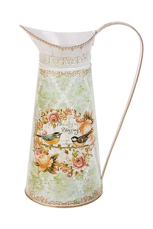 Ваза декоративная Певчие птичкиПодарки на день рождения<br>Выс=27см, в форме кувшина, металл<br>