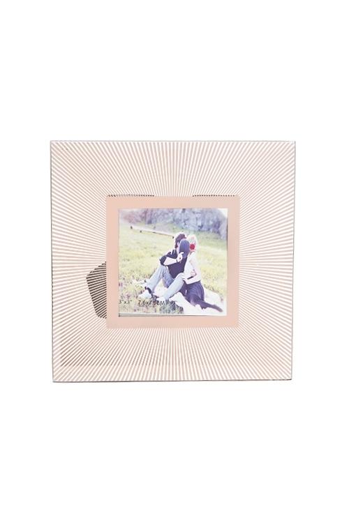 Рамка для фото Солнечные лучиИнтерьер<br>15*15см, фото 8*8см, стекло, прозр.-розов.золот.<br>