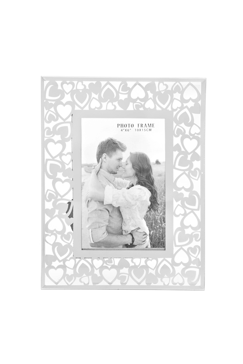 Рамка для фото СердцаПодарки ко дню рождения<br>18*23см, фото 10*15см, стекло, прозр.-серебр.<br>