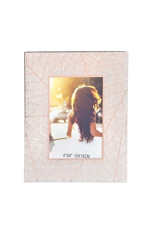 Рамка для фото ЛистьяСтеклянные фоторамки<br>18*23см, фото 10*15см, стекло, бело-розов.золот.<br>
