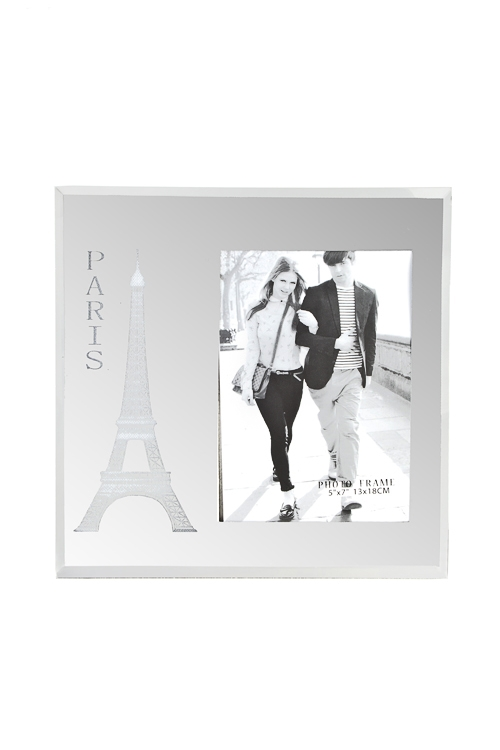Рамка для фото ПарижСтеклянные фоторамки<br>24*24см, фото 13*18см, стекло, пластм., серебр., с подсветкой, на батар.<br>