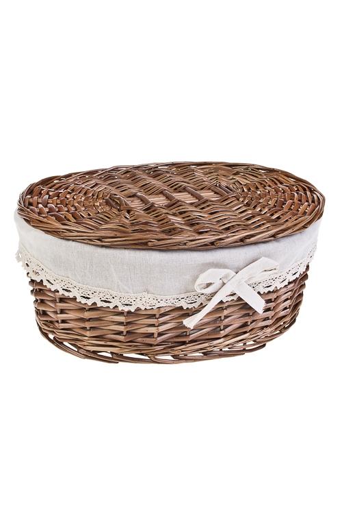 Корзинка декоративная ОвалПодарки маме<br>38*16см, натур. материал, текстиль, с крышкой<br>