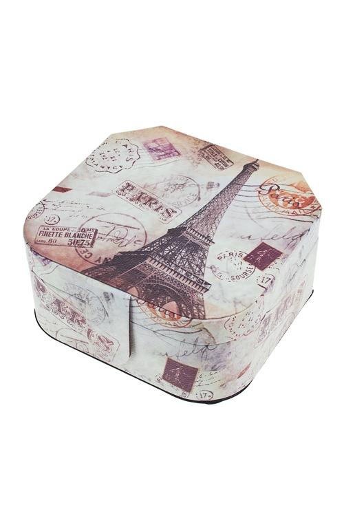 Шкатулка для ювелирных украшений Парижские историиШкатулки для украшений<br>16*16*8см, искусств. кожа, полиэстер<br>