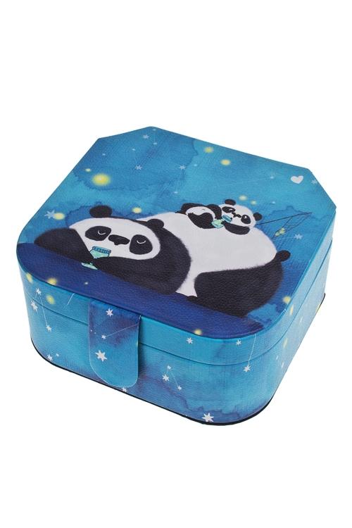 Шкатулка для ювелирных украшений Панды - ловцы звездШкатулки и наборы по уходу<br>16*16*8см, искусств. кожа, полиэстер, синяя<br>