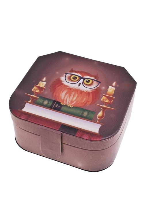 Шкатулка для ювелирных украшений Мудрый филинШкатулки для украшений<br>16*16*8см, искусств. кожа, полиэстер<br>