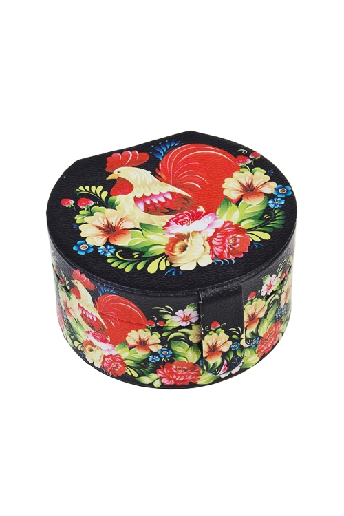 Шкатулка для ювелирных украшений Сказочный петухШкатулки для украшений<br>12*11*6.5см, искусств. кожа, полиэстер<br>